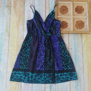 Yumi Kim Animal Print Draped Pocket Mini Dress L